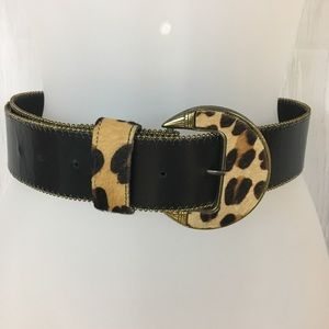 Super Chic Black Belt With Leopard Print Buckle